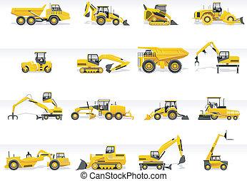 icon., vector, transporte, tractor
