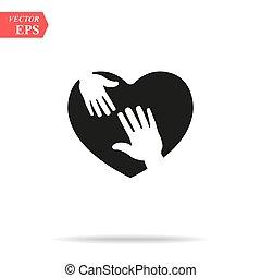 icono del corazón con manos cuidadosas. Diseña ilustración de vector blanco de fondo