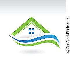 icono, moderno, propiedad, casa