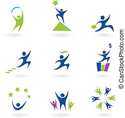 iconos, éxito, social, empresa / negocio