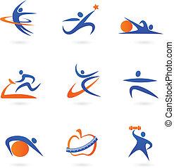 iconos, 2, condición física, -