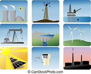 iconos de energía preparados