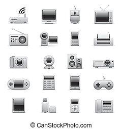 iconos electrónicos plateados
