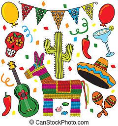 iconos, fiesta, clipart, mexicano