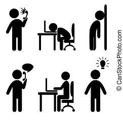 iconos, situación, empresa / negocio