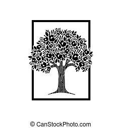 Ilustración de concepto de árbol de mano