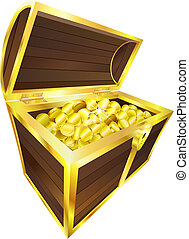 Ilustración de tesoros con monedas de oro