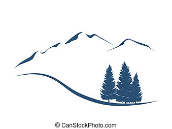 Ilustración estilizada mostrando un paisaje alpino con montañas y primeros