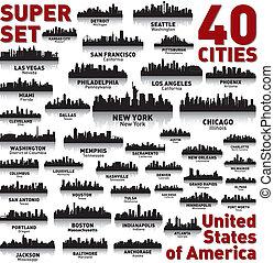 Increíble línea aérea de la ciudad. Estados Unidos de América.