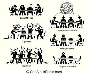ineficiente, discussion., teniendo, ineficaz, reunión, ejecutivos