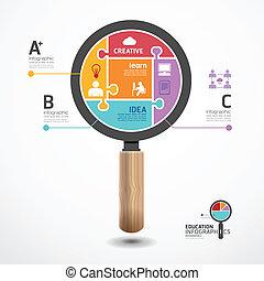 infographic, concepto, rompecabezas, ilustración, vector, plantilla, lupa, bandera