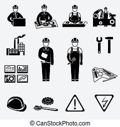ingeniería, conjunto, iconos