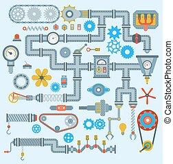 ingeniería, tecnología, mecanismo, vector, design., industria, parte, engranaje, engine., robótico, automático, partes, trabajo, técnico, mecánico, equipo de fabricación, fábrica, iconos, conjunto, mecánico, herramienta, maquinaria