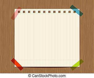 insertar, de madera, texto, pared, papel cuaderno, rayado, su