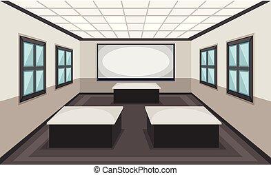 Interior de la escena de clase