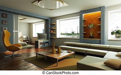 Interior moderno de salón