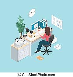 isométrico, oficina, composición, lugar de trabajo