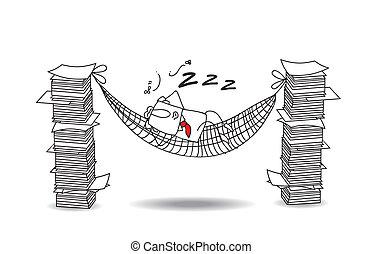 Joe está durmiendo en una hamaca