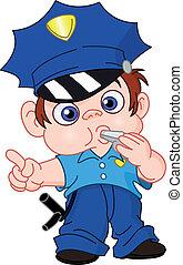 joven, policía