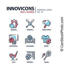 Juegos de Bolas, vectores modernos de diseño de iconos.