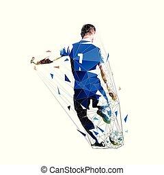 Jugador de fútbol en Blue Jersey pateando pelota, baja ilustración vectorial poligonal. Deportes de equipo