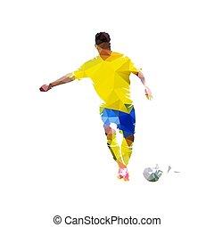 Jugador de fútbol pateando pelota, baja ilustración de vectores poligonales. Aislado futbolista geométrico en camiseta amarilla, vista frontal