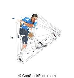 Jugador de fútbol pateando pelota y gol de puntuación, baja ilustración de vectores geométricos bajos abstractos. Futbolista aislado en camiseta azul