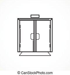 línea, vector, negro, puerta de vidrio, icono, dentro