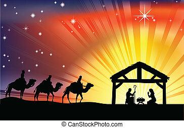 La escena de la Navidad cristiana