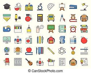 La escuela y el icono relacionados con la educación se establecieron diseños completos como autobús escolar, afilador, pizarra, búho, pila de libros, grapa, piscina, despertador