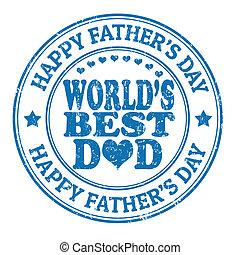 La estampilla del día del padre feliz