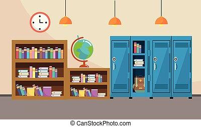 La estantería y las taquillas con reloj en las aulas