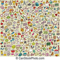 La gran colección de iconos de la escuela y la educación