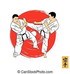 La ilustración de un hombre que demuestra karate