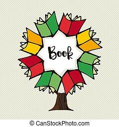 La ilustración del árbol de libros para la educación