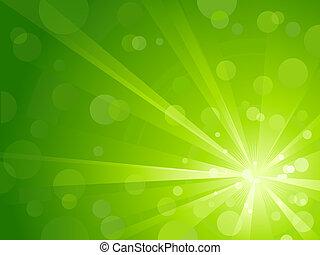 La luz verde reventó con luz brillante