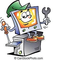 La mascota de reparación de computadoras