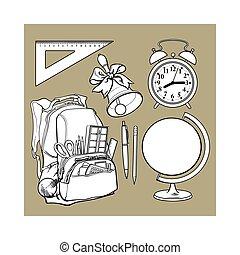 La mochila llena de artículos escolares, despertador, globo y campana