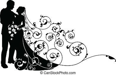 La novia y el novio tienen un patrón de silueta