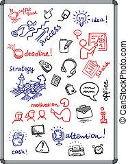 La pizarra blanca con iconos de negocios dibujados con marcador