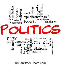 La política de la palabra nube de concepto en letras rojas
