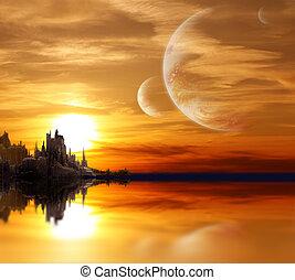 Landscape en planeta de fantasía