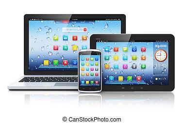 Laptop, tableta PC y teléfono inteligente