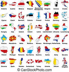 Las banderas europeas en forma de mapa con detalles