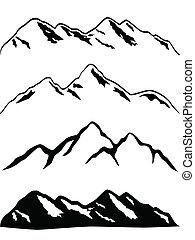 Las cimas de la montaña de nieve