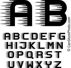 Las líneas de movimiento de velocidad letras de letras de letras de letras de letras de fontología