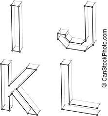 Las letras del alfabeto Wireframe font I J K L