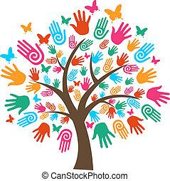 Las manos de los árboles aislados