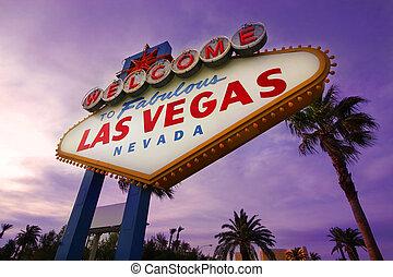 Las Vegas, señal de bienvenida al atardecer número uno