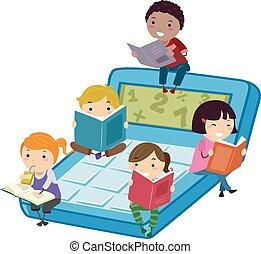 leer, calculadora, matemáticas, stickman, niños, libro